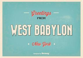 Retro West Babylon New York Greeting Illustration