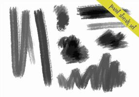 Charcoal Style Paint Streaks Vector Set