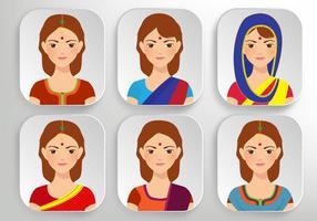 Vectores indios hermosos de la mujer