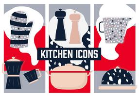 Flat Kitchen Vector Background with Various Elements