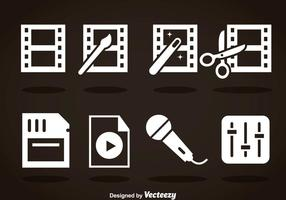 Video Editing White Icons vector