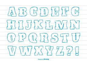 Ensemble d'alphabet de style mignon dessiné à la main