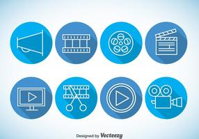 Video editing Blue Icons Vector