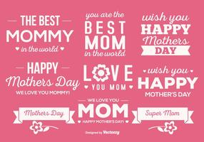 Cute Mother's Day Label Set vetor