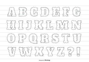 Cute Messy Hand Drawn Alphabet