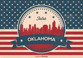 Tulsa oklahoma retro skyline illustration