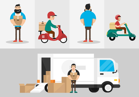 Personagens do vetor do homem de entrega