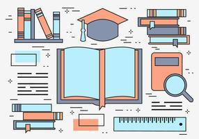 Fundo de vetor de educação de linha plana grátis