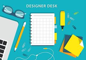 Free Colorful Vector Designers Desk