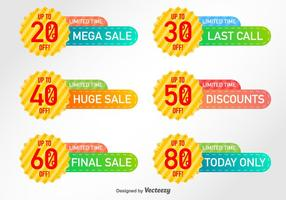 Set von 6 Discount-Etiketten Vector Elements