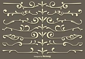 Vector Beige Scrollwork Elementen