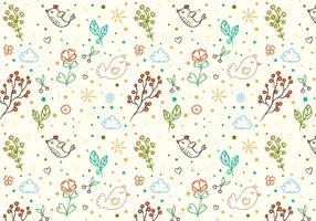Gratis Vector Doodle Bloemen Vogel Achtergrond
