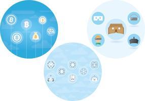 Bitcoin + Drone + ensemble d'icônes VR (utilisation gratuite)