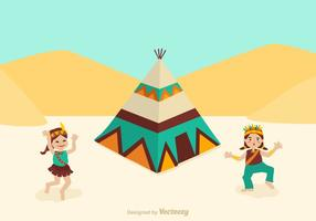 Free American Indian Kids Dancing Vector