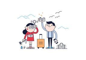 Vector libre de los turistas