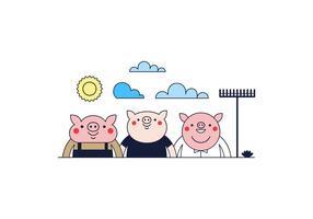 Vector libre de tres pequeños cerdos
