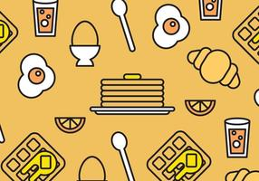 Breakfast Foods Vector Pattern