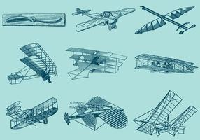 Old Style Airplanes vector