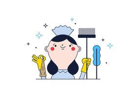 Vector libre de la limpieza de la señora
