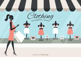 Shopping Pregnant Mom Vector
