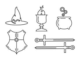 Line art set of magic tools and elements vector