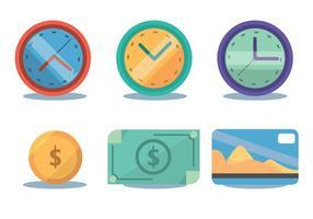 Conjunto de vetores de fuso horário e dinheiro