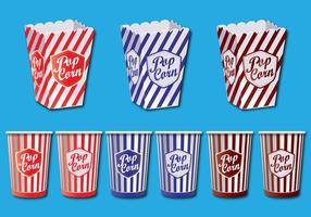 Popcorn box vector set