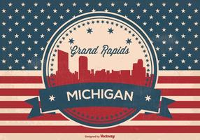 Retro Grand Rapids Michigan Skyline Illustration