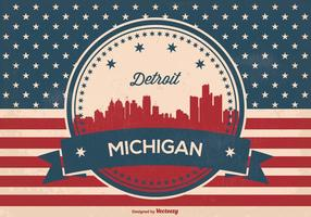 Detriot Michigan Retro Skyline Ilustración