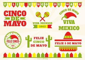 Cinco de Mayo Label Set vector