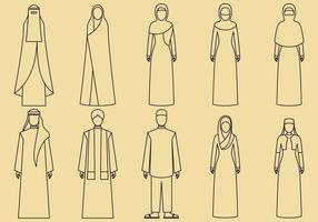 Middle East Clothes Icons vector