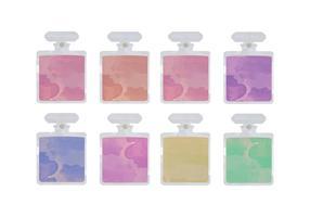 Botellas de perfume de la acuarela del vector