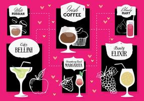 Conjunto livre de cocktail cocktail vector fundo