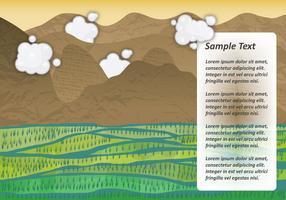 Paisaje del vector del campo del arroz