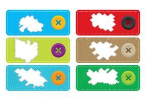 Vectores rasgados de la etiqueta de la tela
