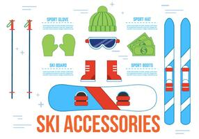 Iconos libres del vector de los accesorios del esquí