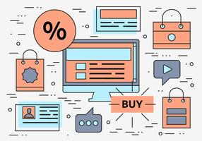 Free lineal vector de compras en línea de fondo