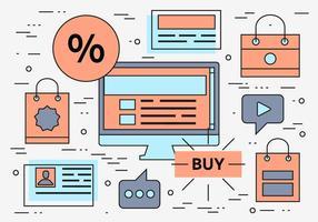 Fundo de vetor linear gratuito de compras on-line