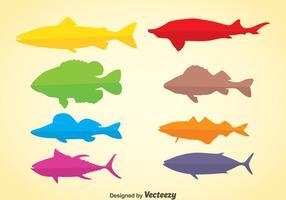 Vecteur de poissons silhouette colorée