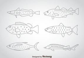 Fish Thin Outline Icons