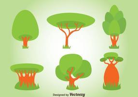 Conjunto de vectores de árboles verdes