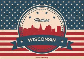 Retro Madison Wisconsin Horizon Illustratie
