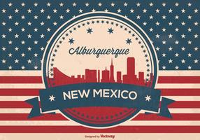 Retro Style Alburquerque New Mexico Skyline