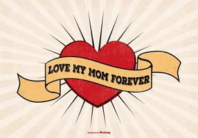 Ich liebe Mom Tattoo Style Illustration
