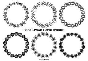 Hand Drawn Style Flower Frames vector