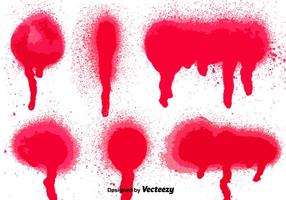 Set von 6 Red Spray Paint Splatters
