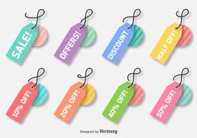Etiquetas coloridas de desconto coloridas