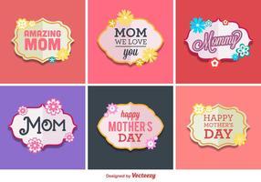 Etiquetas felices del vector del día de madre