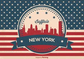 Retro buffalo new york skyline