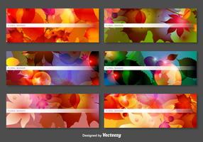 Abstract Vector Banners With Laves And Flowers Decoration
